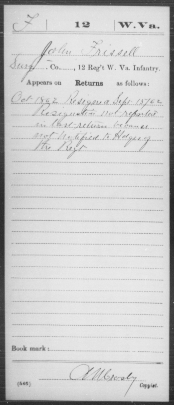 Frissell, John - Age [Blank], Year: 1862 - Miscellaneous Card Abstracts of Records - West Virginia