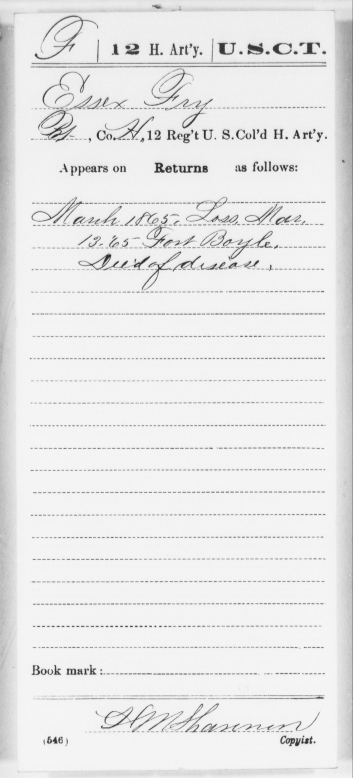 Fry, Essex - Age [Blank], Year: 1865 - 12th US Colored Heavy Artillery, Wo-Y AND Misc Cards, B-H - United States Colored Troops: Artillery Organizations