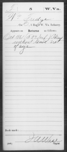 Fudge, Wm - Age [Blank], Year: 1861 - Miscellaneous Card Abstracts of Records - West Virginia