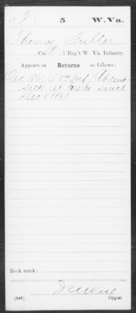 Fuller, Thomas - Age [Blank], Year: 1861 - Miscellaneous Card Abstracts of Records - West Virginia