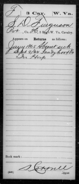 Furguson, S D - Age [Blank], Year: 1865 - Miscellaneous Card Abstracts of Records - West Virginia