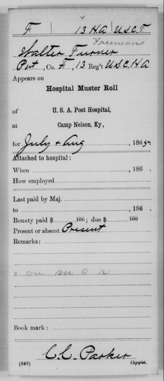 Furner, Walter - Age [Blank], Year: 1865 - 13th US Colored Heavy Artillery, Misc Cards - United States Colored Troops: Artillery Organizations
