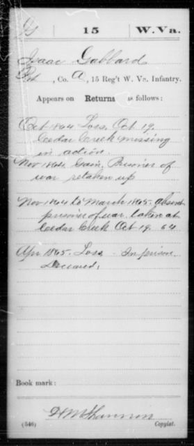 Gabbard, Isaac - Age [Blank], Year: 1864 - Miscellaneous Card Abstracts of Records - West Virginia