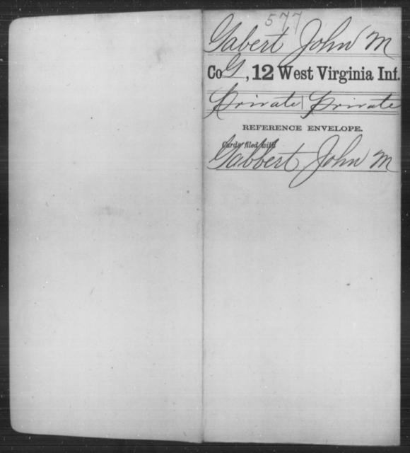 Gabert, John M - Age [Blank], Year: [Blank] - Twelfth Infantry - West Virginia