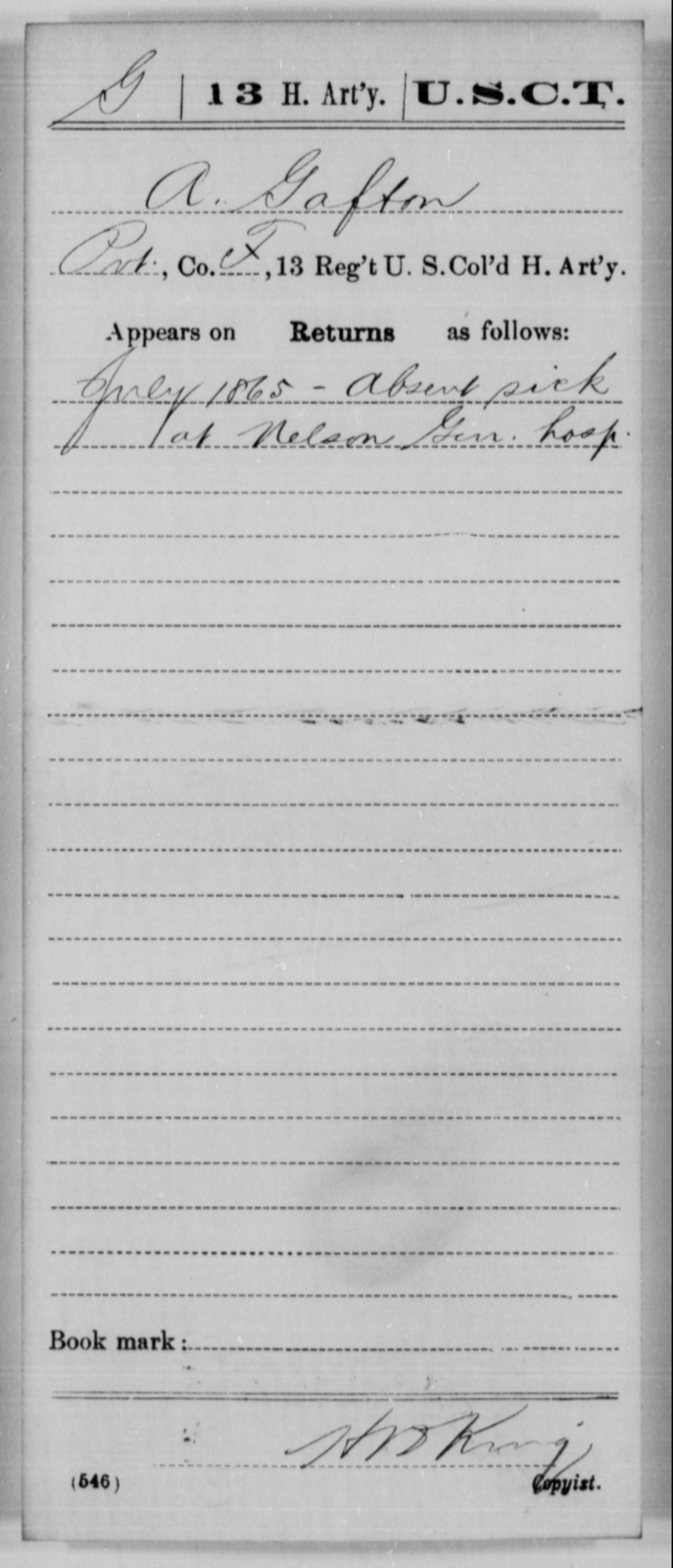 Gafton, A - Age [Blank], Year: 1865 - 13th US Colored Heavy Artillery, Misc Cards - United States Colored Troops: Artillery Organizations