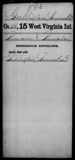 Gallispie, Samuel D - Age [Blank], Year: [Blank] - Fifteenth Infantry - West Virginia