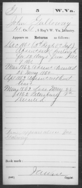 Galloway, John - Age [Blank], Year: 1861 - Miscellaneous Card Abstracts of Records - West Virginia