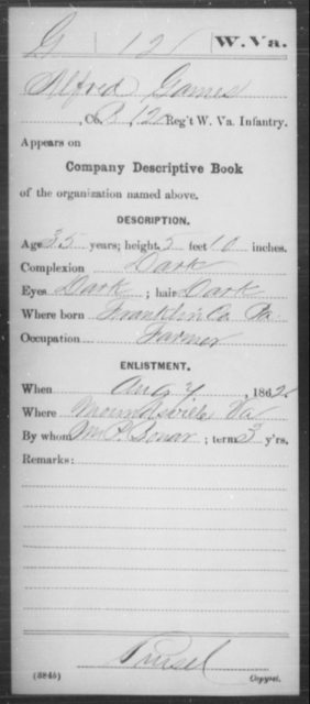Games, Alfred - Age 35, Year: 1862 - Miscellaneous Card Abstracts of Records - West Virginia