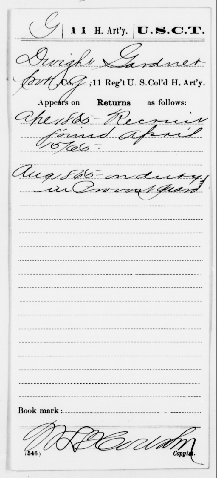 Gardner, Dwight - Age [Blank], Year: 1865 - 11th US Colored Heavy Artillery, Misc Cards, E-Y - United States Colored Troops: Artillery Organizations