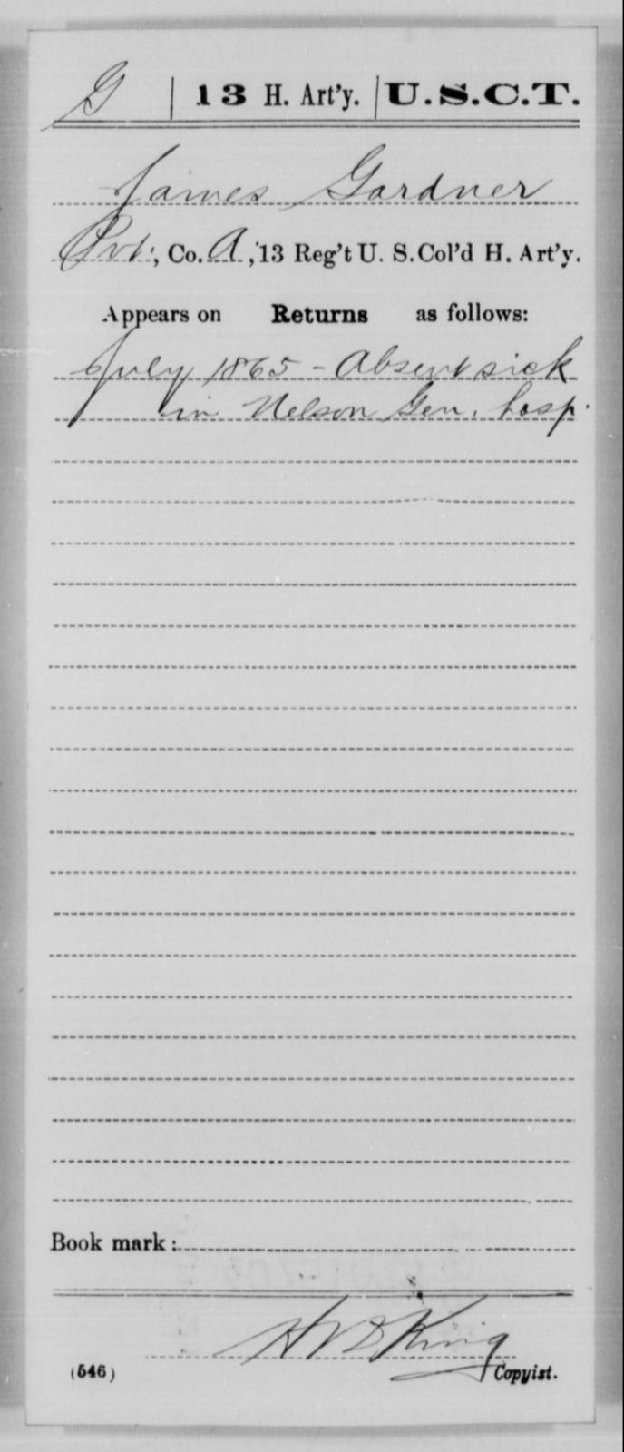 Gardner, James - Age [Blank], Year: 1865 - 13th US Colored Heavy Artillery, Misc Cards - United States Colored Troops: Artillery Organizations