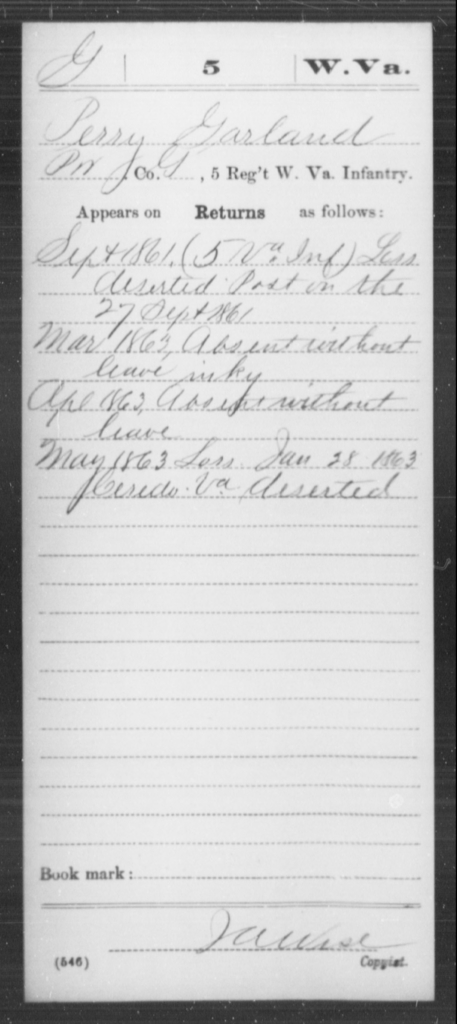 Garland, Jerry - Age [Blank], Year: 1861 - Miscellaneous Card Abstracts of Records - West Virginia