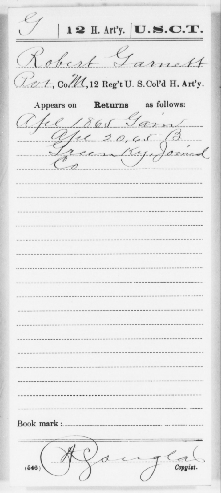Garnett, Robert - Age [Blank], Year: 1865 - 12th US Colored Heavy Artillery, Wo-Y AND Misc Cards, B-H - United States Colored Troops: Artillery Organizations