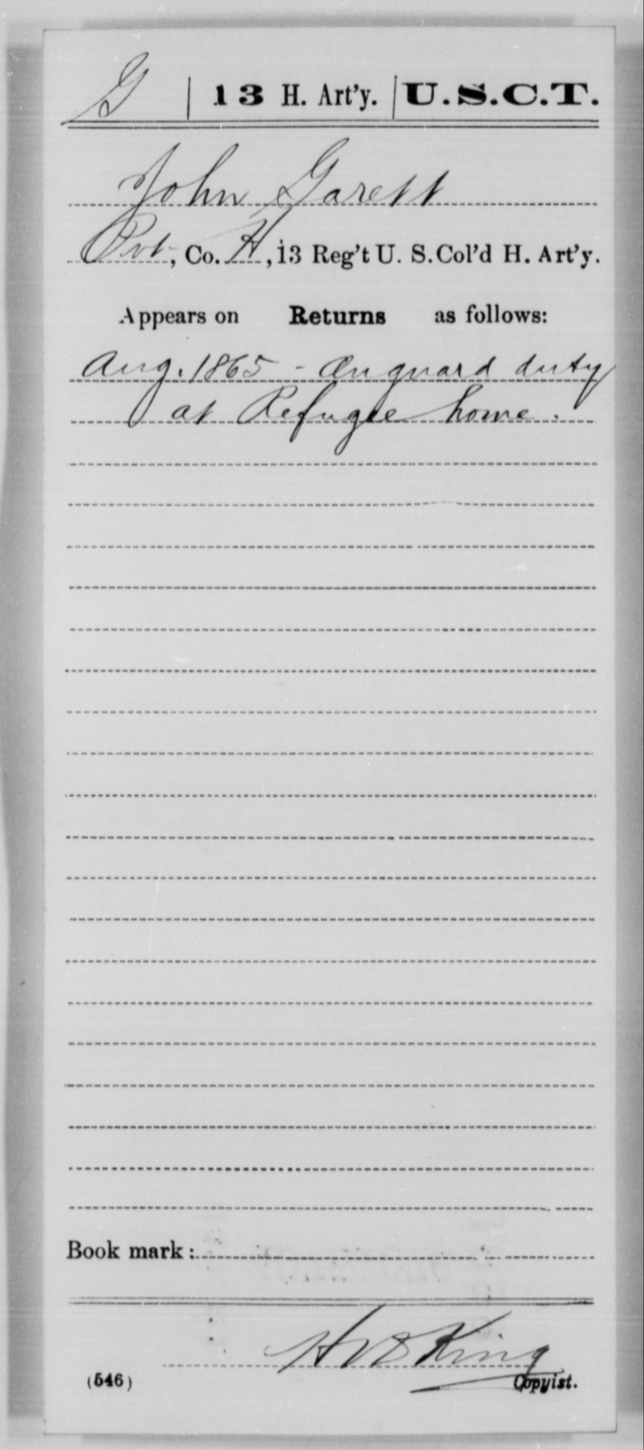 Garrett, John - Age [Blank], Year: 1865 - 13th US Colored Heavy Artillery, Misc Cards - United States Colored Troops: Artillery Organizations