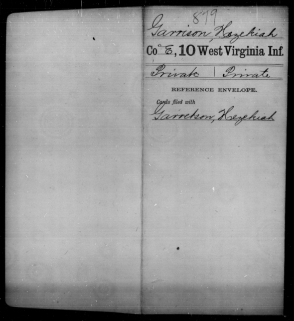 Garrison, Hezekiah - Age [Blank], Year: [Blank] - Tenth Infantry - West Virginia