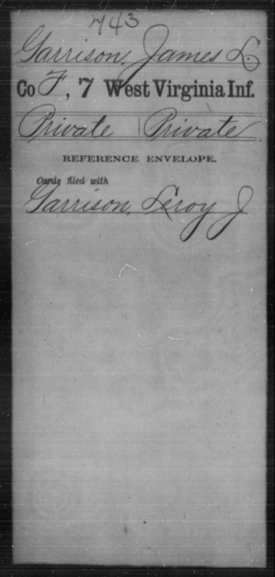 Garrison, James L - Age [Blank], Year: [Blank] - Seventh Infantry - West Virginia