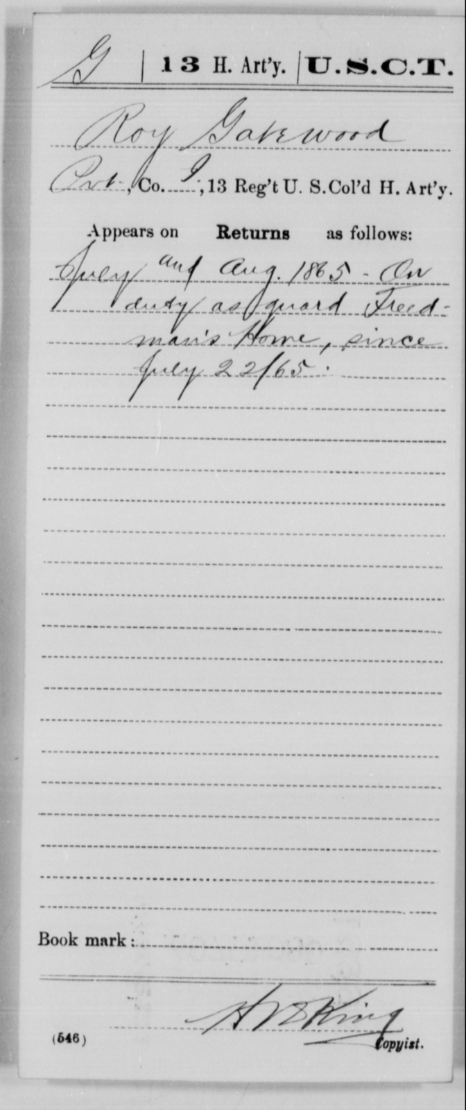 Gatewood, Roy - Age [Blank], Year: 1865 - 13th US Colored Heavy Artillery, Misc Cards - United States Colored Troops: Artillery Organizations