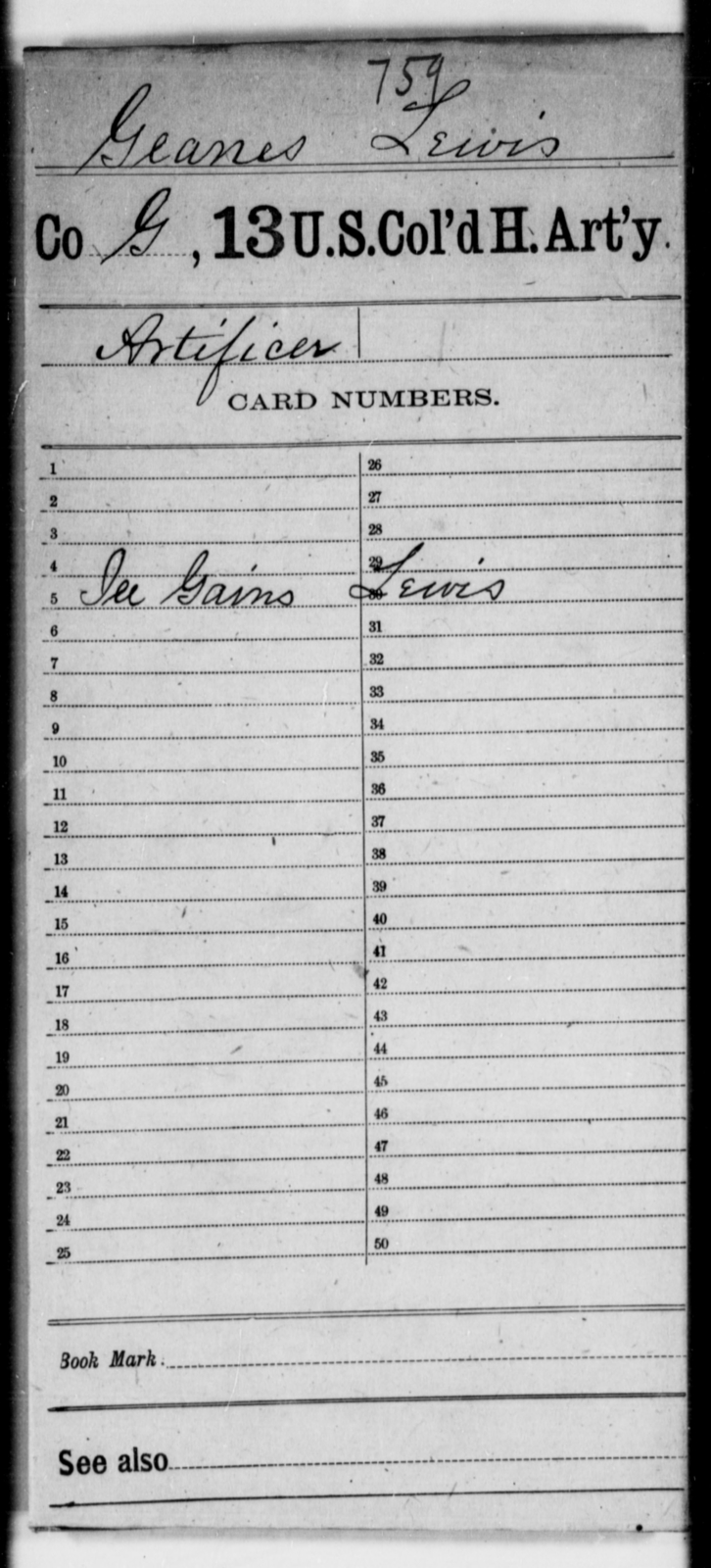 Geanes, Lewis - Age [Blank], Year: [Blank] - 13th US Colored Heavy Artillery - United States Colored Troops: Artillery Organizations
