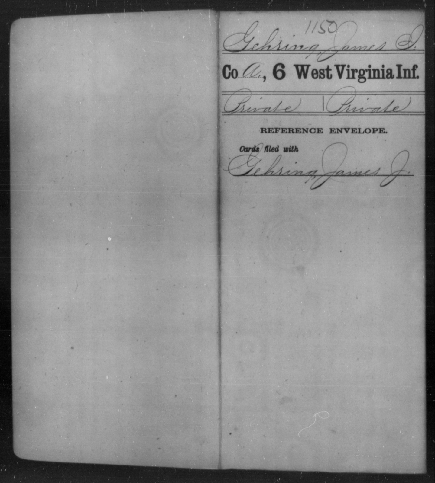 Gehring, James I - Age [Blank], Year: [Blank] - Sixth Infantry - West Virginia