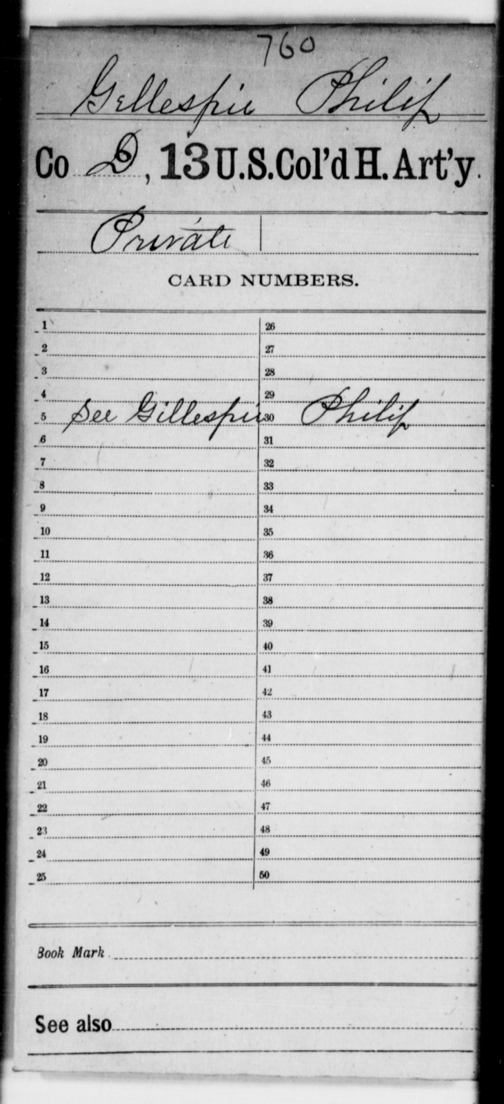 Gellespie, Philip - Age [Blank], Year: [Blank] - 13th US Colored Heavy Artillery - United States Colored Troops: Artillery Organizations