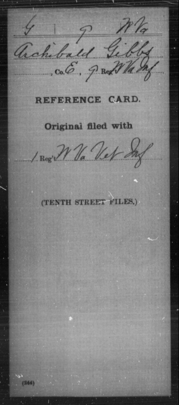 Gibbs, Archibald - Age [Blank], Year: [Blank] - Miscellaneous Card Abstracts of Records - West Virginia
