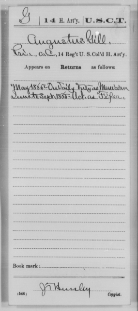 Gill, Augustus - Age [Blank], Year: 1865 - 14th US Colored Heavy Artillery, Wi-Y AND Misc Cards - United States Colored Troops: Artillery Organizations