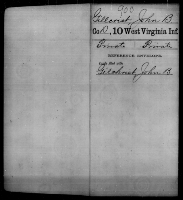 Gillcrist, John B - Age [Blank], Year: [Blank] - Tenth Infantry - West Virginia