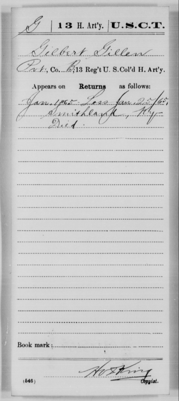 Gillen, Gilbert - Age [Blank], Year: 1865 - 13th US Colored Heavy Artillery, Misc Cards - United States Colored Troops: Artillery Organizations