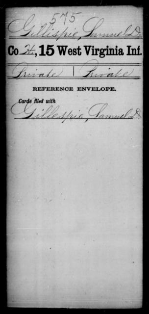 Gillispie, Samuel D - Age [Blank], Year: [Blank] - Fifteenth Infantry - West Virginia