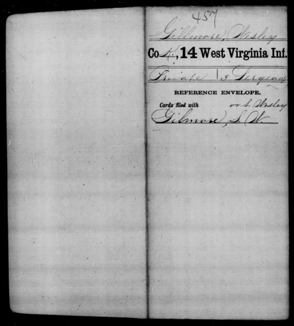 Gillmore, Wesley - Age [Blank], Year: [Blank] - Fourteenth Infantry, C-Z - West Virginia