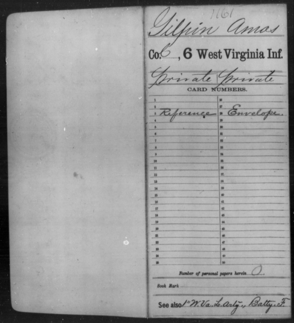 Gilpin, Amos - Age [Blank], Year: [Blank] - Sixth Infantry - West Virginia