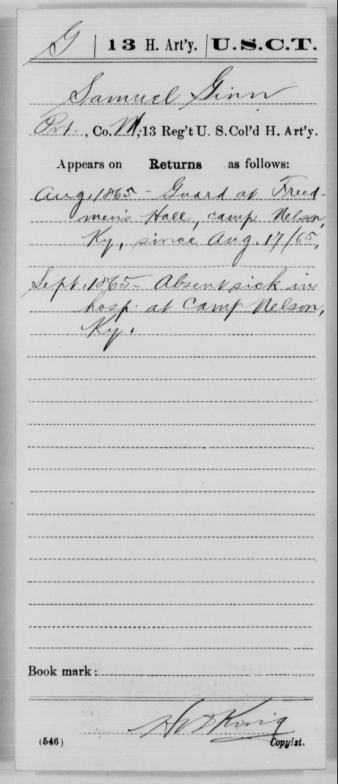 Ginn, Samuel - Age [Blank], Year: 1865 - 13th US Colored Heavy Artillery, Misc Cards - United States Colored Troops: Artillery Organizations