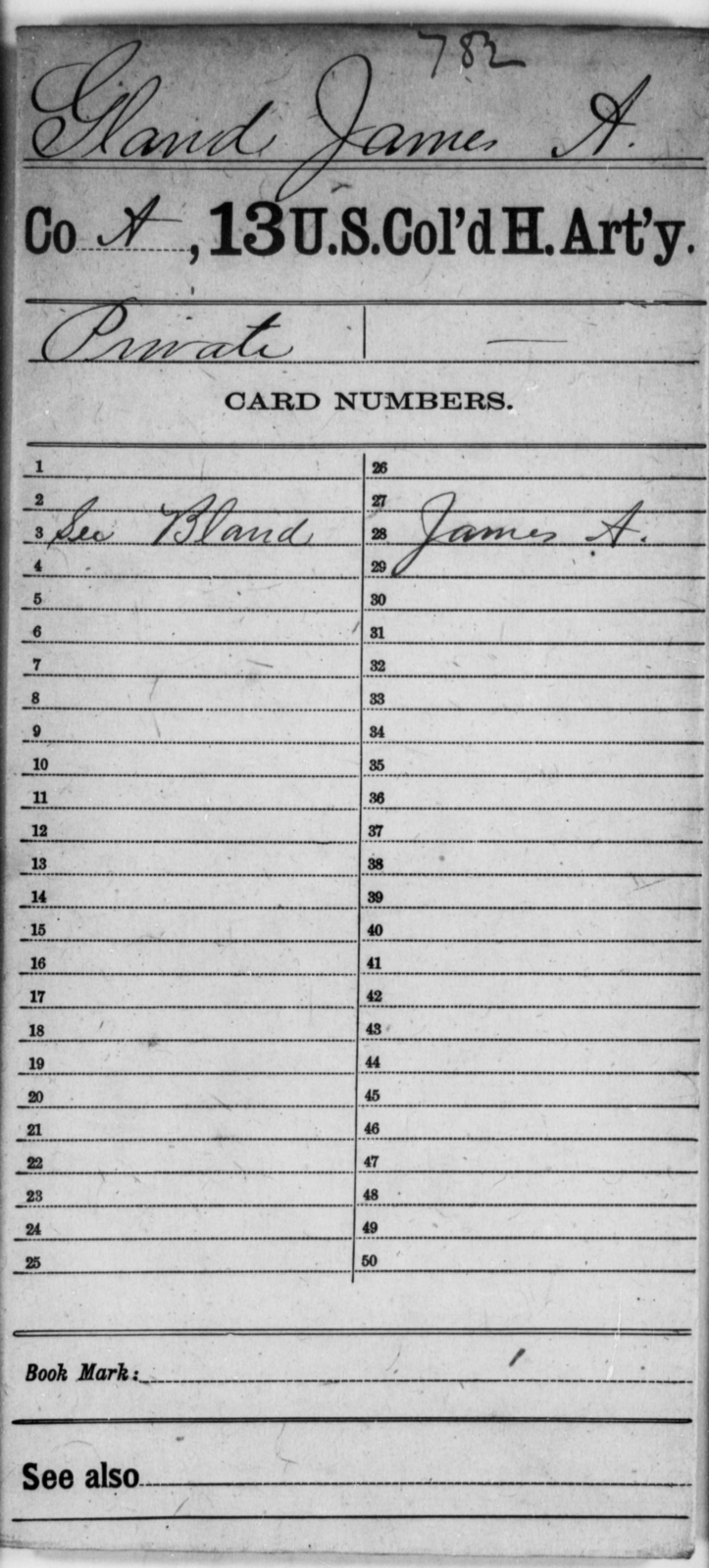 Gland, James A - Age [Blank], Year: [Blank] - 13th US Colored Heavy Artillery - United States Colored Troops: Artillery Organizations