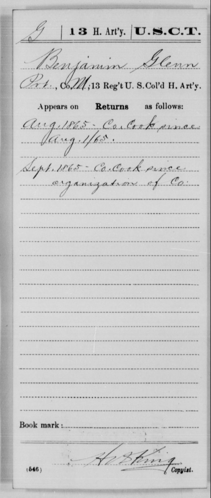Glenn, Benjamin - Age [Blank], Year: 1865 - 13th US Colored Heavy Artillery, Misc Cards - United States Colored Troops: Artillery Organizations
