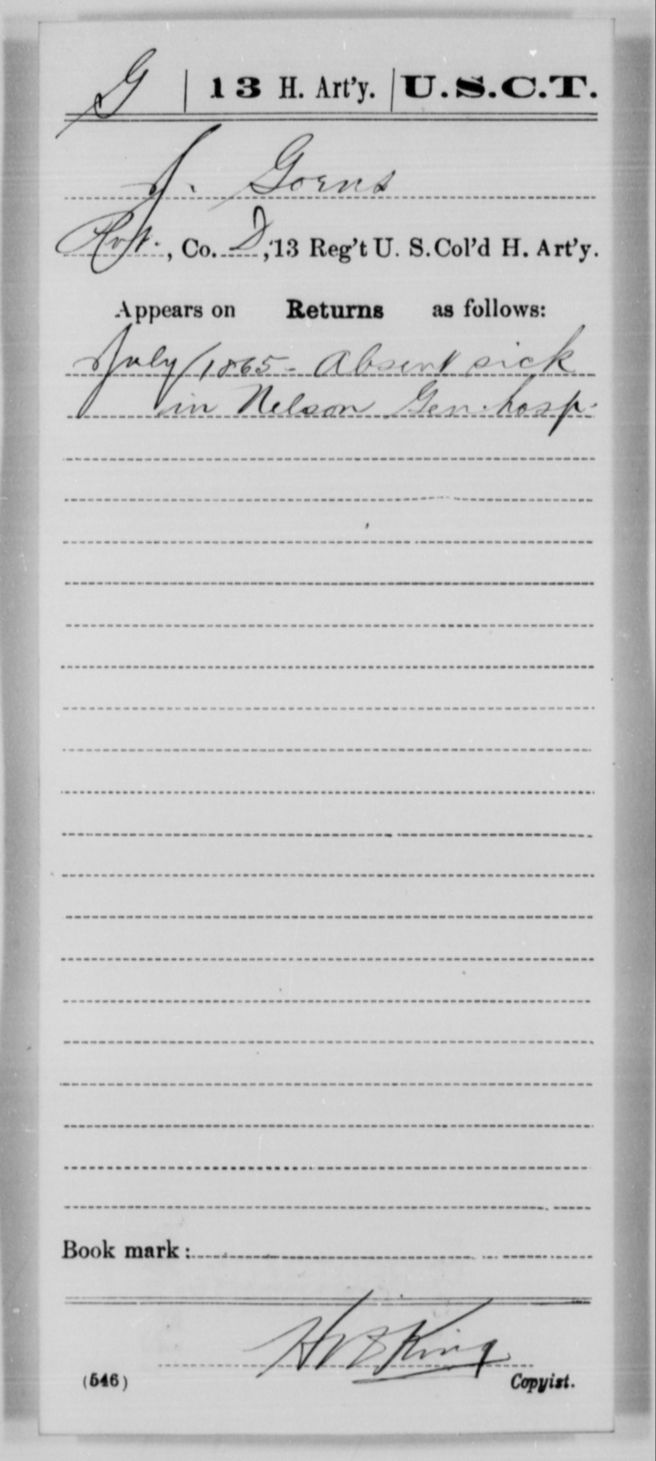Goens, J - Age [Blank], Year: 1865 - 13th US Colored Heavy Artillery, Misc Cards - United States Colored Troops: Artillery Organizations