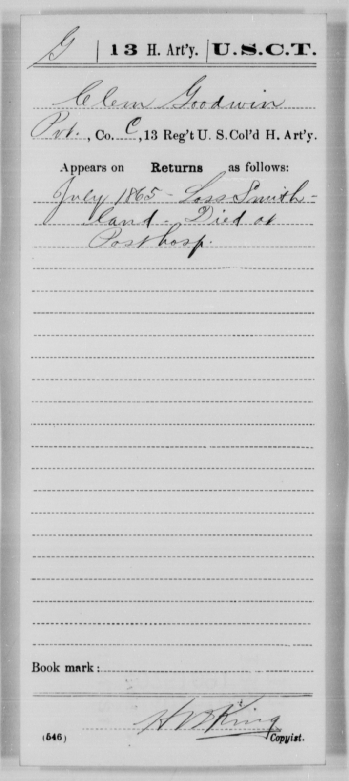 Goodwin, Clem - Age [Blank], Year: 1865 - 13th US Colored Heavy Artillery, Misc Cards - United States Colored Troops: Artillery Organizations