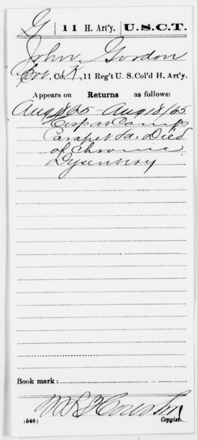 Gordon, John - Age [Blank], Year: 1865 - 11th US Colored Heavy Artillery, Misc Cards, E-Y - United States Colored Troops: Artillery Organizations