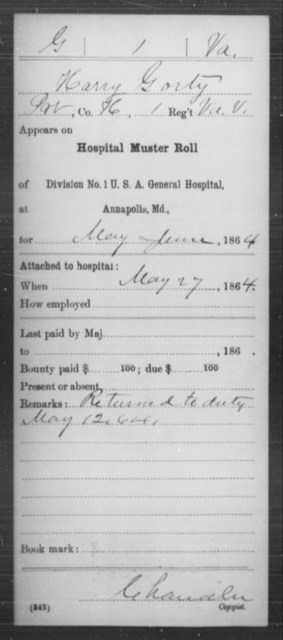 Gorty, Harry - Age [Blank], Year: 1864 - Miscellaneous Card Abstracts of Records - West Virginia