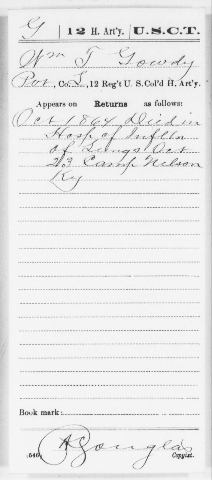 Gowdy, Wm T - Age [Blank], Year: 1864 - 12th US Colored Heavy Artillery, Wo-Y AND Misc Cards, B-H - United States Colored Troops: Artillery Organizations