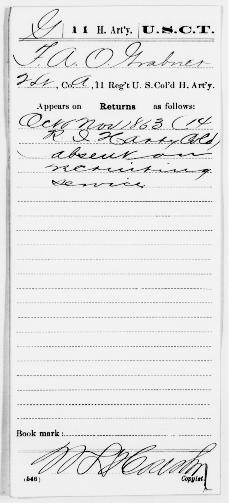 Grabner, F A O - Age [Blank], Year: 1863 - 11th US Colored Heavy Artillery, Misc Cards, E-Y - United States Colored Troops: Artillery Organizations
