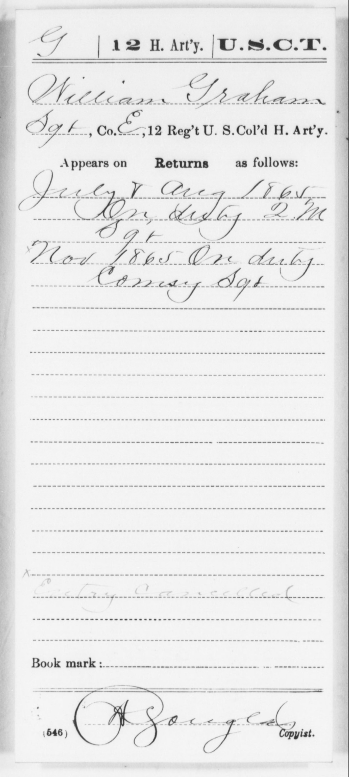 Graham, William - Age [Blank], Year: 1865 - 12th US Colored Heavy Artillery, Wo-Y AND Misc Cards, B-H - United States Colored Troops: Artillery Organizations