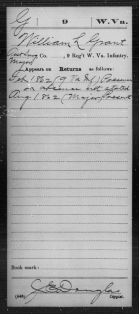 Grant, William L - Age [Blank], Year: 1862 - Miscellaneous Card Abstracts of Records - West Virginia
