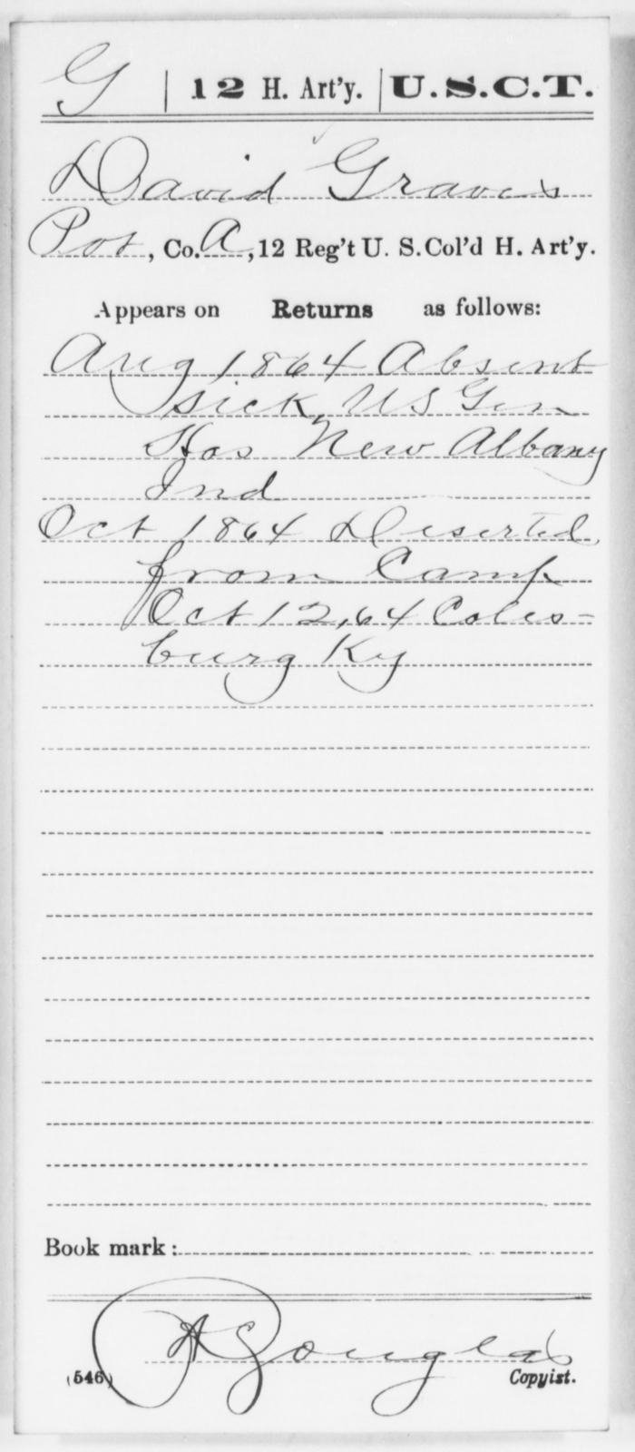 Graves, David - Age [Blank], Year: 1864 - 12th US Colored Heavy Artillery, Wo-Y AND Misc Cards, B-H - United States Colored Troops: Artillery Organizations