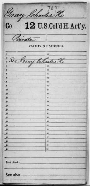 Gray, Charles H - Age [Blank], Year: [Blank] - 12th US Colored Heavy Artillery - United States Colored Troops: Artillery Organizations