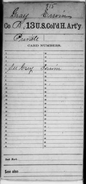 Gray, Erwin - Age [Blank], Year: [Blank] - 13th US Colored Heavy Artillery - United States Colored Troops: Artillery Organizations