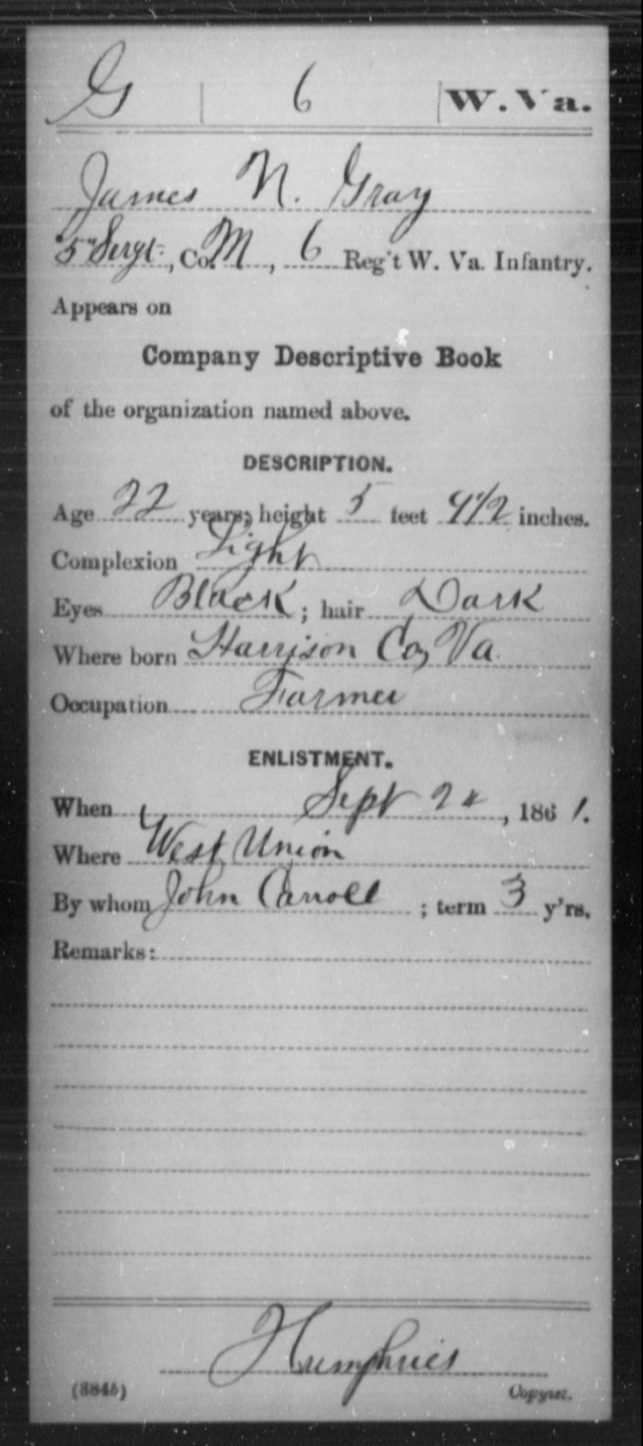 Gray, James N - Age 22, Year: 1861 - Miscellaneous Card Abstracts of Records - West Virginia