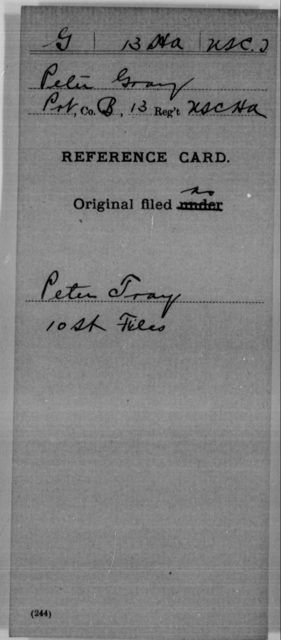 Gray, Peter - Age [Blank], Year: [Blank] - 13th US Colored Heavy Artillery, Misc Cards - United States Colored Troops: Artillery Organizations