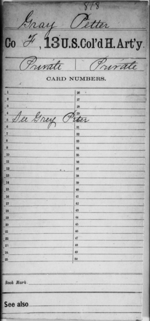 Gray, Petter - Age [Blank], Year: [Blank] - 13th US Colored Heavy Artillery - United States Colored Troops: Artillery Organizations