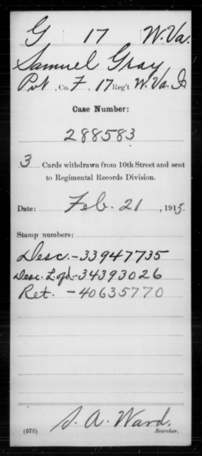 Gray, Samuel - Age [Blank], Year: [Blank] - Miscellaneous Card Abstracts of Records - West Virginia