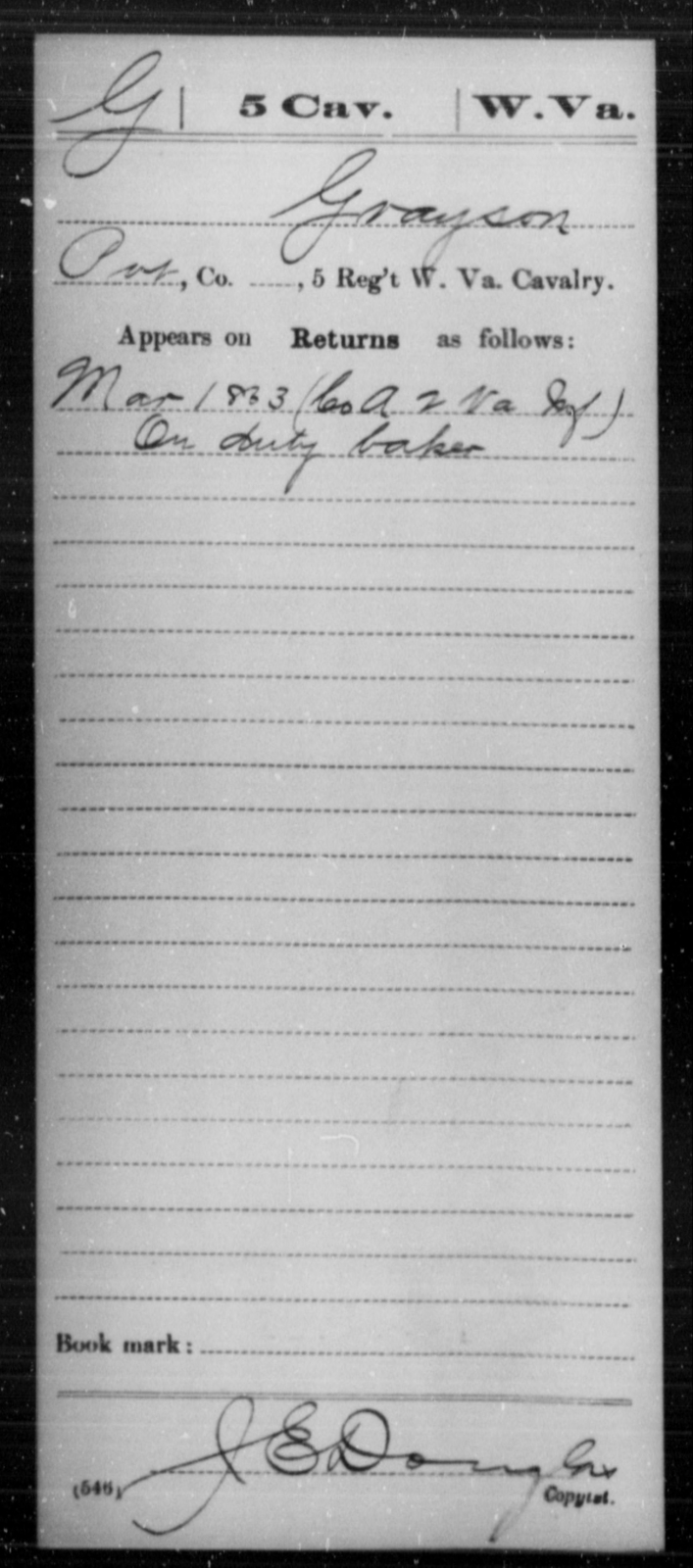 Grayson, [Blank] - Age [Blank], Year: 1863 - Miscellaneous Card Abstracts of Records - West Virginia