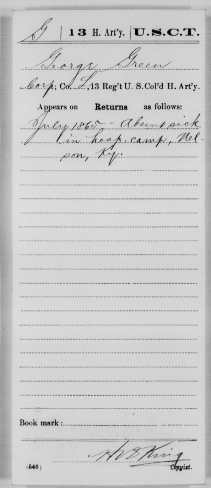 Green, George - Age [Blank], Year: 1865 - 13th US Colored Heavy Artillery, Misc Cards - United States Colored Troops: Artillery Organizations